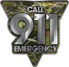 Call 911 Emergency Police EMS Fire Decal in Camouflage