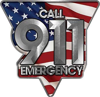 Call 911 Emergency Police EMS Fire Decal with American Flag