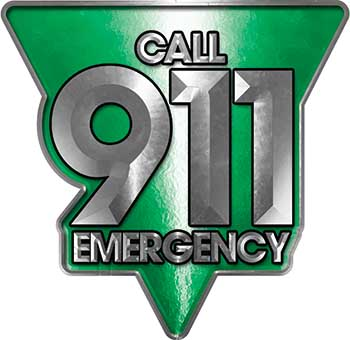 Call 911 Emergency Police EMS Fire Decal in Green