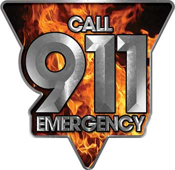 Call 911 Emergency Police EMS Fire Decal in Inferno Flames