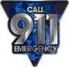Call 911 Emergency Police EMS Fire Decal in Blue Inferno Flames