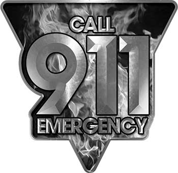 Call 911 Emergency Police EMS Fire Decal in Gray Inferno Flames