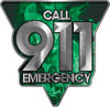 Call 911 Emergency Police EMS Fire Decal in Green Inferno Flames