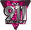 Call 911 Emergency Police EMS Fire Decal in Pink Inferno Flames
