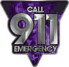 Call 911 Emergency Police EMS Fire Decal in Purple Inferno Flames