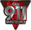 Call 911 Emergency Police EMS Fire Decal in Red Inferno Flames
