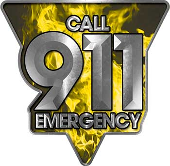 Call 911 Emergency Police EMS Fire Decal in Yellow Inferno Flames