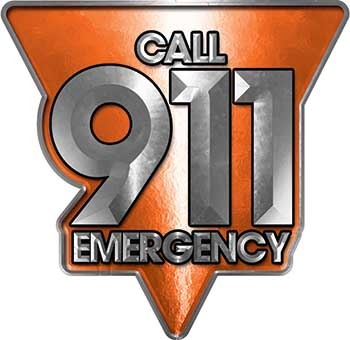 Call 911 Emergency Police EMS Fire Decal in Orange