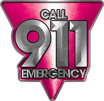Call 911 Emergency Police EMS Fire Decal in Pink