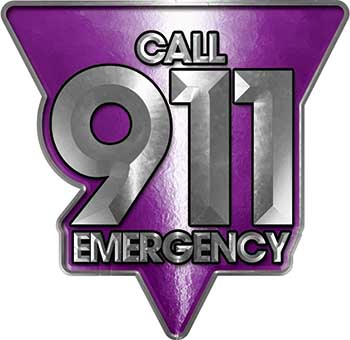 Call 911 Emergency Police EMS Fire Decal in Purple