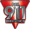 Call 911 Emergency Police EMS Fire Decal in Red