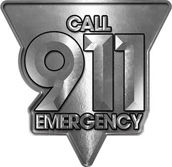 Call 911 Emergency Police EMS Fire Decal in Silver