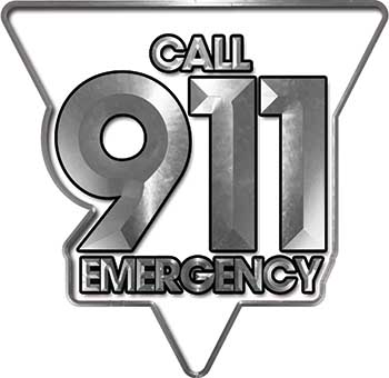 Call 911 Emergency Police EMS Fire Decal in White