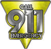 Call 911 Emergency Police EMS Fire Decal in Yellow