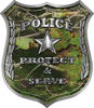 Protect and Serve Police Law Enforcement Decal in Camouflage