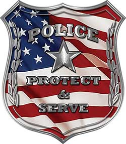 Protect and Serve Police Law Enforcement Decal with American Flag
