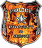 Protect and Serve Police Law Enforcement Decal in Inferno Flames
