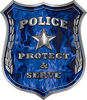 Protect and Serve Police Law Enforcement Decal in Blue Inferno Flames