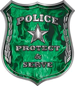 Protect and Serve Police Law Enforcement Decal in Green Inferno Flames