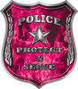 Protect and Serve Police Law Enforcement Decal in Pink Inferno Flames