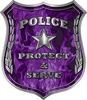 Protect and Serve Police Law Enforcement Decal in Purple Inferno Flames
