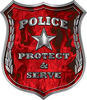 Protect and Serve Police Law Enforcement Decal in Red Inferno Flames