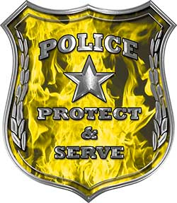 Protect and Serve Police Law Enforcement Decal in Yellow Inferno Flames
