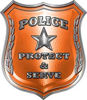 Protect and Serve Police Law Enforcement Decal in Orange