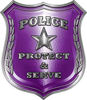 Protect and Serve Police Law Enforcement Decal in Purple