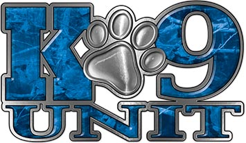 K-9 Unit Law Enforcement Police Dog Paw Decal in Blue Camouflage