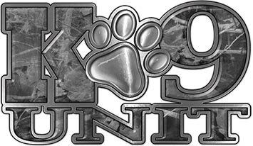 K-9 Unit Law Enforcement Police Dog Paw Decal in Gray Camouflage