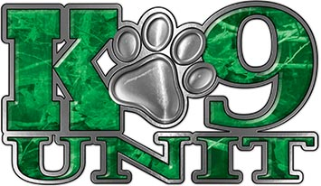 K-9 Unit Law Enforcement Police Dog Paw Decal in Green Camouflage