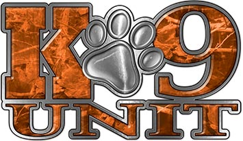 K-9 Unit Law Enforcement Police Dog Paw Decal in Orange Camouflage