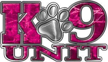 K-9 Unit Law Enforcement Police Dog Paw Decal in Pink Camouflage