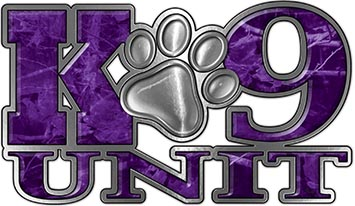 K-9 Unit Law Enforcement Police Dog Paw Decal in Purple Camouflage