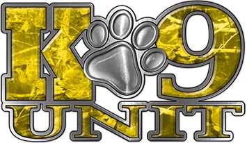 K-9 Unit Law Enforcement Police Dog Paw Decal in Yellow Camouflage