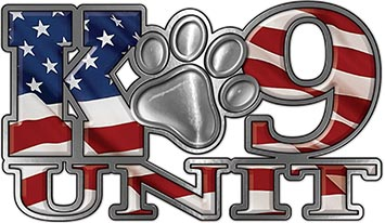 K-9 Unit Law Enforcement Police Dog Paw Decal with American Flag