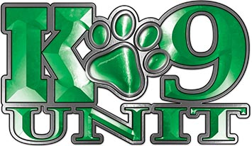 K-9 Unit Law Enforcement Police Dog Paw Decal in Green