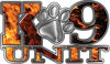 K-9 Unit Law Enforcement Police Dog Paw Decal in Inferno