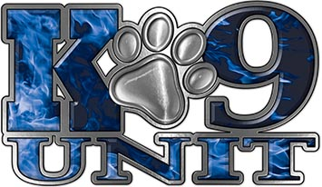 K-9 Unit Law Enforcement Police Dog Paw Decal in Inferno Blue