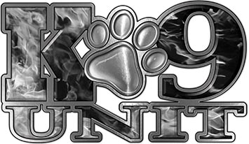K-9 Unit Law Enforcement Police Dog Paw Decal in Inferno Gray