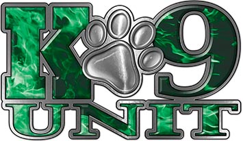 K-9 Unit Law Enforcement Police Dog Paw Decal in Inferno Green
