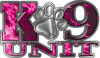 K-9 Unit Law Enforcement Police Dog Paw Decal in Inferno Pink