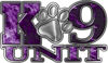 K-9 Unit Law Enforcement Police Dog Paw Decal in Inferno Purple