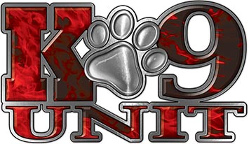 K-9 Unit Law Enforcement Police Dog Paw Decal in Inferno Red