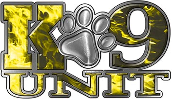 K-9 Unit Law Enforcement Police Dog Paw Decal in Inferno Yellow