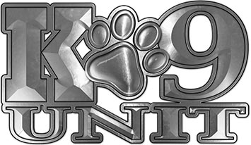 K-9 Unit Law Enforcement Police Dog Paw Decal in Silver