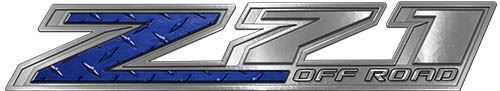 Chevy Z71 Off Road Decals in Blue Diamond Plate