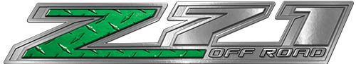 Chevy Z71 Off Road Decals in Green Diamond Plate