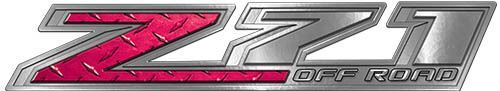 Chevy Z71 Off Road Decals in Pink Diamond Plate